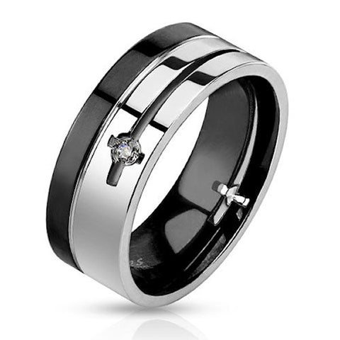 Die Cut Black Plated Stainless Steel Men's Wedding Band