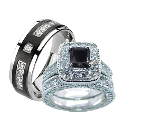 His Hers Wedding Ring Set Black Cz Sterling Silver and Titanium