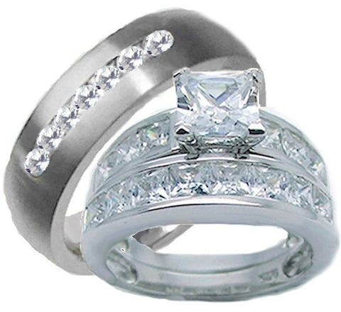 3 Pieces His Her Wedding Ring Set Sterling Silver & Titanium Cz Wedding Ring Set - Edwin Earls Jewelry