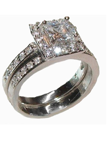Women's  2 Piece Cz Sterling Silver Wedding Ring Engagement Set