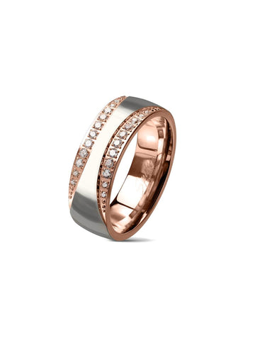 Men's Diamond Cz Rose Gold Stainless Steel Wedding Band