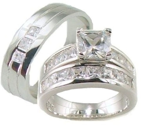 His & Her 3 Piece AAA Quality Cz  Wedding Ring Set 925 Sterling Silver