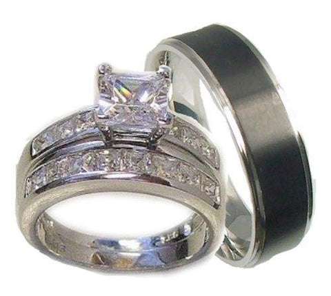 His & Her 3 Piece Wedding Ring Set 925 Sterling Silver and Stainless Steel - Edwin Earls Jewelry
