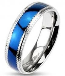 Men's Blue Plated Stainless Steel Wedding Band