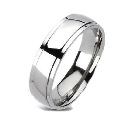 Men's Titanium High Polish Silver Wedding Band
