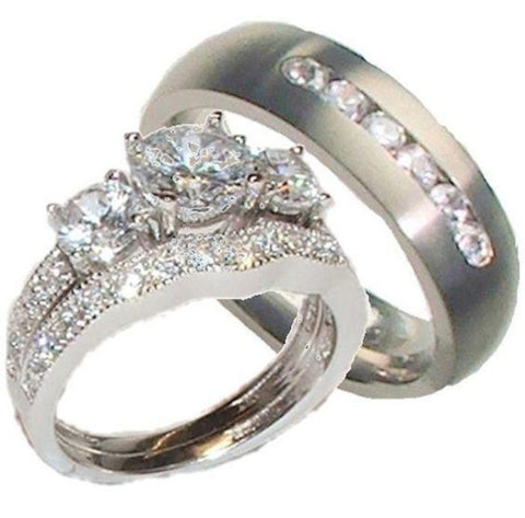 His Her Wedding Ring Set Sterling Silver Titanium Cz Wedding Ring Set - Edwin Earls Jewelry