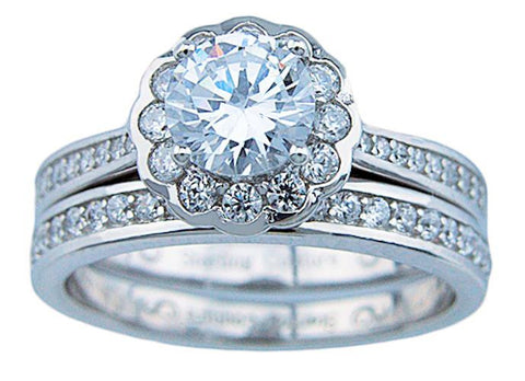 womens cz round cut halo wedding ring set sterling silver - Halo Wedding Ring Set