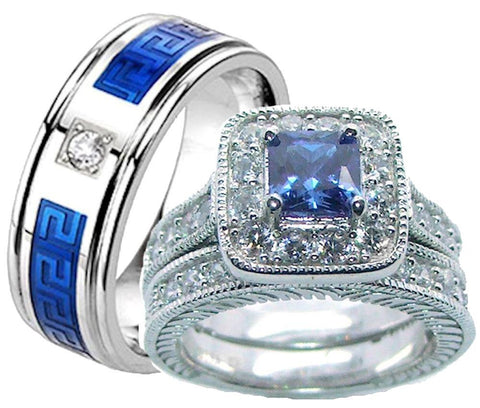 His Hers Blue & Clear Cz Wedding Ring Set Sterling Silver and Stainless Steel - Edwin Earls Jewelry