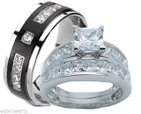His & Hers Wedding Ring Set 925 Sterling Silver & Titantium Wedding Rings - Edwin Earls Jewelry