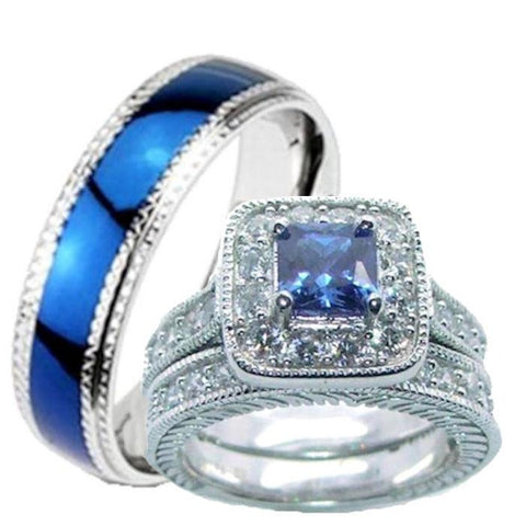 His Hers Blue & Clear Cz Wedding Ring Set Sterling Silver and Stainless Steel