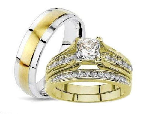 His Hers Princess Cut Wedding Ring Set Yellow Gold Plated Stainless Steel