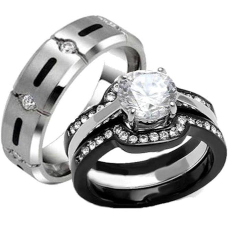 His Hers 4 Piece Black Stainless Steel Titanium Matching Wedding