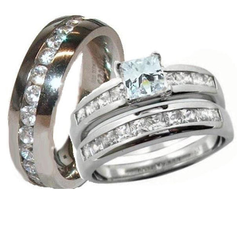 His & Hers Wedding Ring Set Sterling Silver & Stainless Steel Wedding Rings - Edwin Earls Jewelry