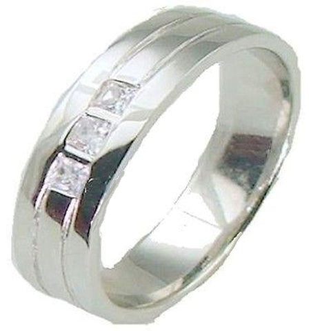 Men's Sterling Silver .925 Wedding Band with  AAA Quality Cz Accent Stones