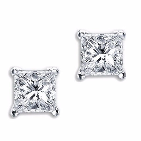 Men's Women's 6mm Princess Cut Screwback Earrings Sterling Silver - Edwin Earls Jewelry