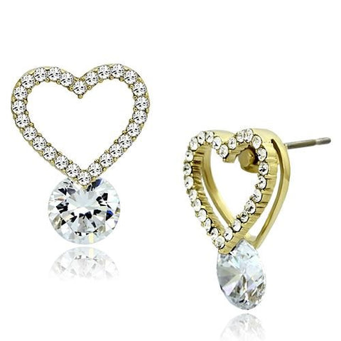 Ladies Cz Heart Earrings in Yellow Gold IP Stainless Steel