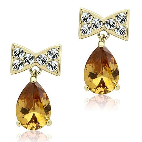 Pear Shaped Topaz CZ Yellow Gold IP Stainless Steel Dangle Earrings