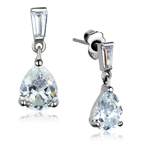 Trillion & Baguette Cut Clear CZ Dangle Stainless Steel Earrings - Edwin Earls Jewelry