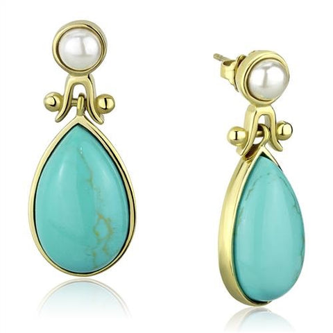 Women's Turquoise & Pearl Dangle Earrings Yellow Gold Plated Stainless Steel