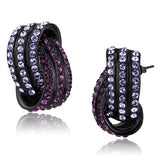 Purple & Lavender Crystal Twisted Hoops Stud Earrings Black Plated Stainless Steel
