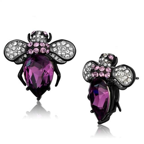 Purple Amethyst Bumble Bee Black  & Silver Stainless Steel Earrings - Edwin Earls Jewelry
