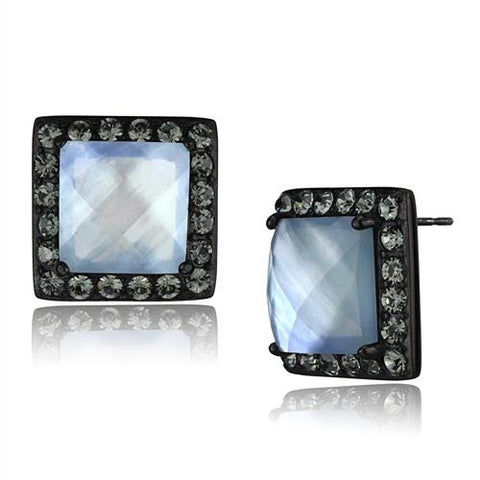 Princess Cut Blue Conch Shell Black IP Stainless Steel Stud Earrings