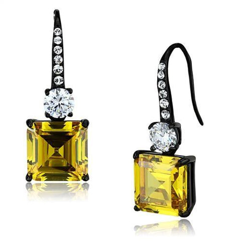 Princess Cut Yellow Topaz Cz Black IP Stainless Steel Dangle Earrings