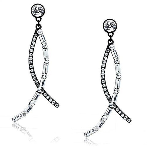 Round & Baguette Clear Crystal Dangle Earrings Black IP Stainless Steel