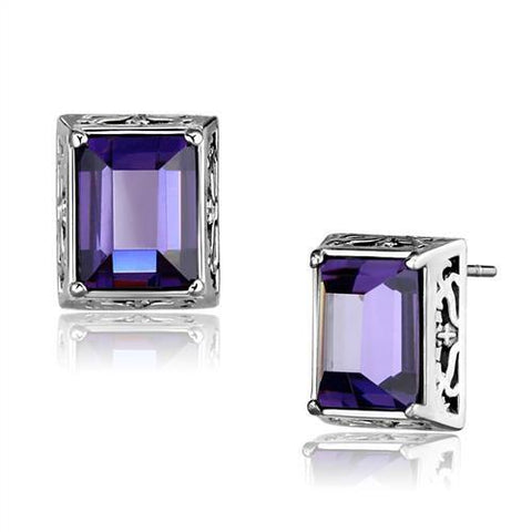 6ct Purple Amethyst CZ Stud Earrings Stainless Steel