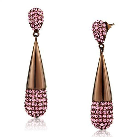 Pink Crystal Stone Studded Dangle Earrings Brown IP Stainless Steel - Edwin Earls Jewelry