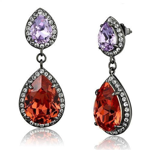 Orange Pear Shaped Crystal Dangle Earrings Black IP Stainless Steel