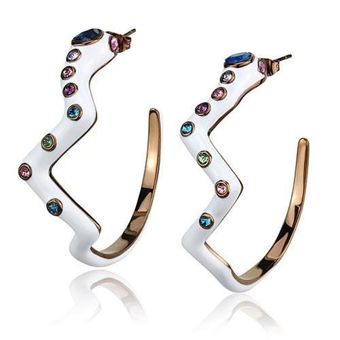 Multi Color Crystal Half Hoop Earrings Brown IP Stainless Steel