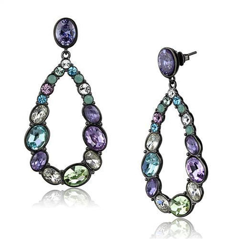 Multi Color CZ Dangle Hoop Earrings Black IP Stainless Steel - Edwin Earls Jewelry