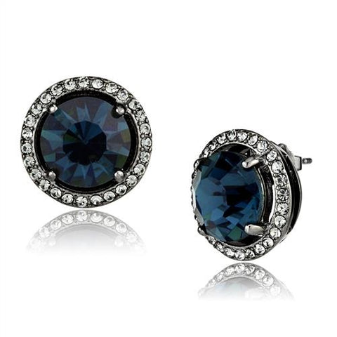 Women's Sapphire Blue Light Black Plated Stud Earrings Stainless Steel - Edwin Earls Jewelry