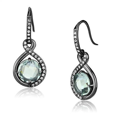 Women's Emerald Light Black Plated Dangle Earrings Stainless Steel - Edwin Earls Jewelry