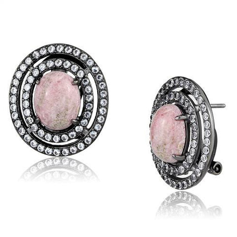 Women's Pink Coral Light Black Plated Stud Earrings Stainless Steel - Edwin Earls Jewelry