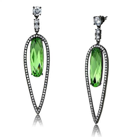 Women's Peridot Dark Gray Plated Dangle Earrings Stainless Steel - Edwin Earls Jewelry