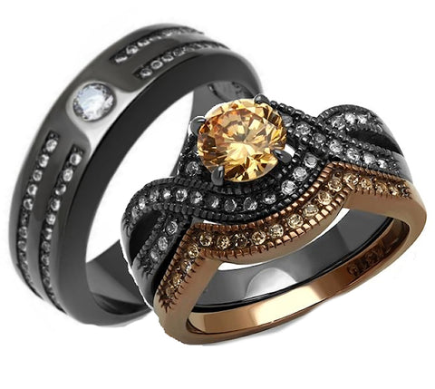 His Her Round Cut Champagne Black Stainless Steel Wedding Ring Set