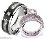 His & Hers Cz Wedding Ring Set Stainless Steel & Titanium Wedding Ring Set