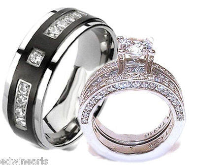 His & Hers Cz Wedding Ring Set Stainless Steel & Titanium Wedding Ring Set - Edwin Earls Jewelry