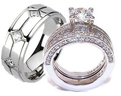 His & Hers Cz Wedding Ring Set Stainless Steel & Mens Titanium Wedding Ring Set - Edwin Earls Jewelry