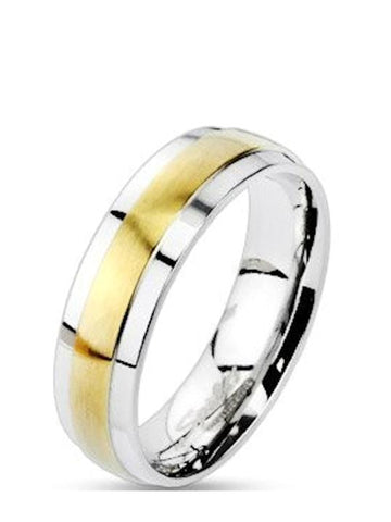 Men's Women's Couples Two Tone Stainless Steel and Yellow Gold Wedding Band Ring