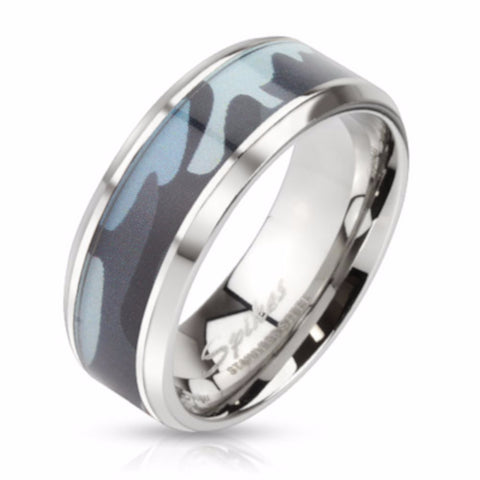 mens blue camouflage stainless steel wedding band - Stainless Steel Wedding Ring