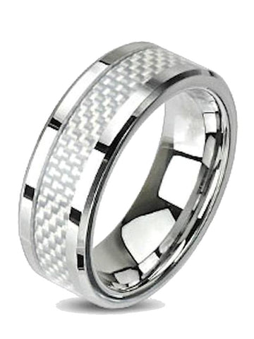 Men Women Couples White Fiber Inlay Stainless Steel Wedding Band Ring