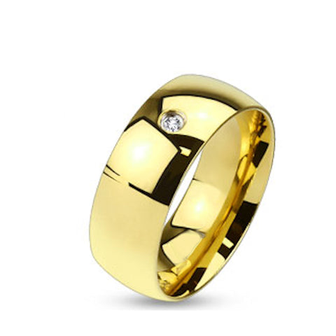 Men's Gold Plated Stainless Steel Wedding Band with CZ Stone - Edwin Earls Jewelry