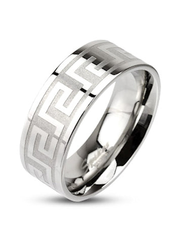Men Women Couples Maze Pattern Stainless Steel Wedding Band Ring