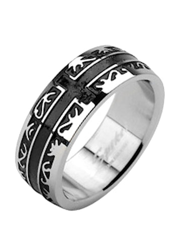 Men Women Couples Black Stainless Steel Wedding Ring Band