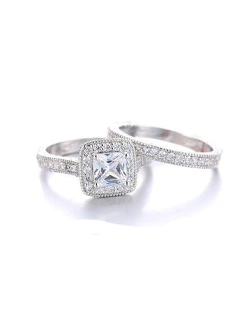 2 Piece Halo Cz Wedding Ring Set Sterling Silver Bridal Ring