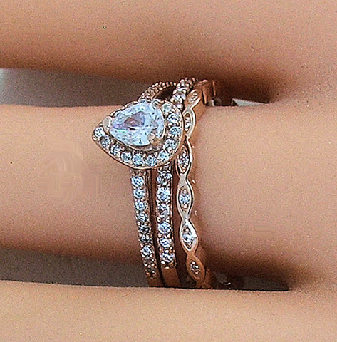 3 PIECE ROSE GOLD PLATED STERLING SILVER HALO CZ WEDDING RING SET - Edwin Earls Jewelry