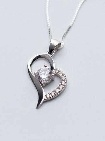 Forever Heart Pendant & Chain Solitaire Cz Heart in Sterling Silver